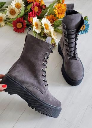❗последние размеры 36, 37!!! ботинки замшевые зимние натуральн...