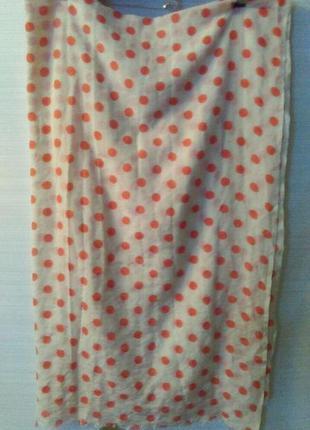 Восхитительный шарф палантин в горохи шерсть + шелк