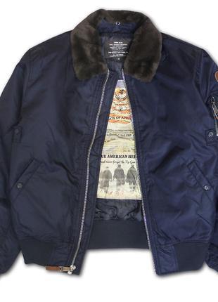 Top Gun B-15 Men's Heavy Duty Vintage Flight Bomber Jacket, синий