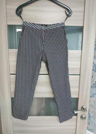 Шикарные укороченные брюки в принт хлопок