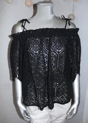 Черный топ блуза с открытыми плечами h&m