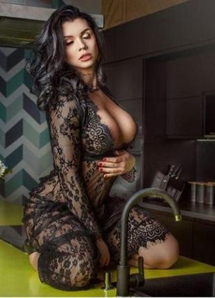 Кружевной пеньюар, платье для фотосессий или просто для дома, ...