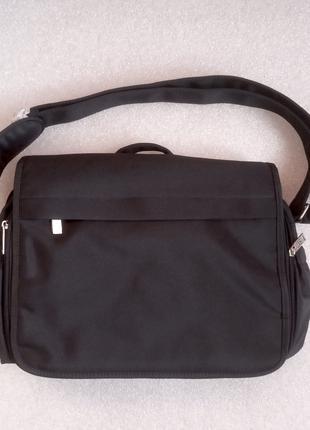 Мужская черная сумка-почтальон, портфель из текстиля