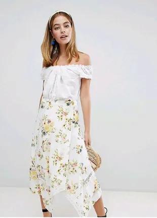 Юбка миди белая с цветочным принтом Asos коттон