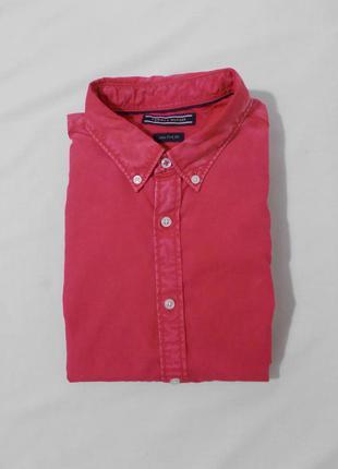Новая рубашка малиновая мытая (garment dyed) 'tommy hilfiger' ...