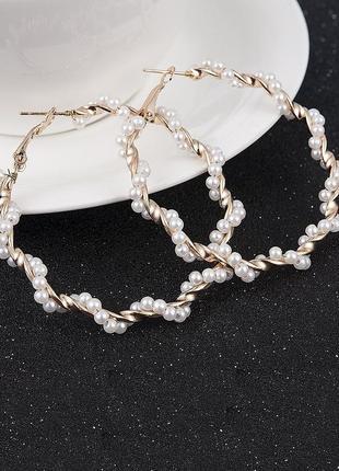 🏵 модные серьги кольца жемчужные, новые! арт. 3905