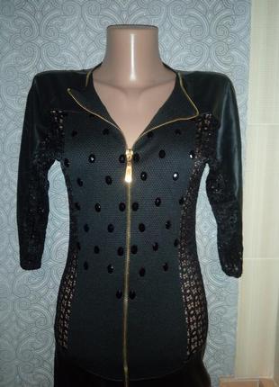 Сексуальное платье со вставками кож-зама