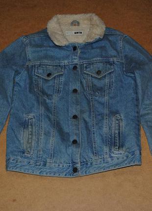 Topshop мужская sherpa джинсовка на меху джинсовая куртка