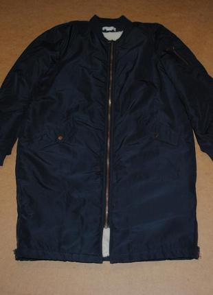 H&m мужской удлиненный бомбер куртка на меху