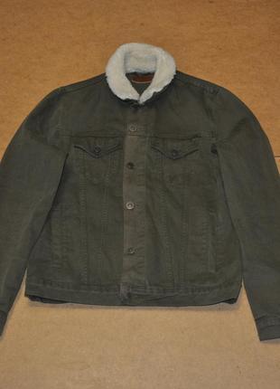 Asos мужская джинсовая куртка джинсовка зеленая