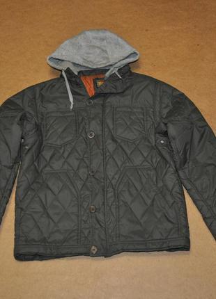 Mjk мужская стильная куртка стеганая с капюшоном