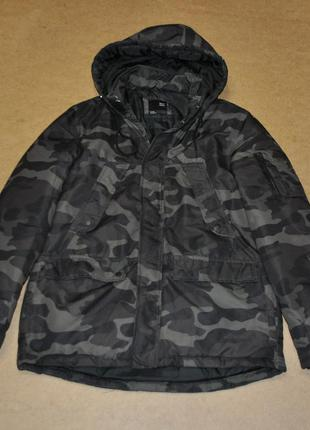 Bershka теплая куртка парка camo бершка