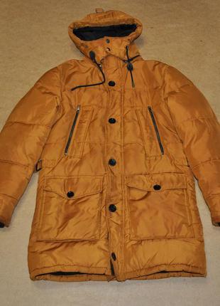 Zara man мега теплая мужская парка куртка желтая