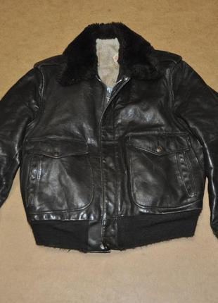 Scott usa sherpa кожанная куртка бомбер летная ma-1 на меху