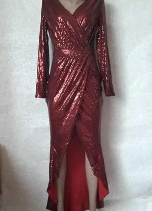 Шикарное нарядное платье в пол на запах в мелкие паетки в крас...