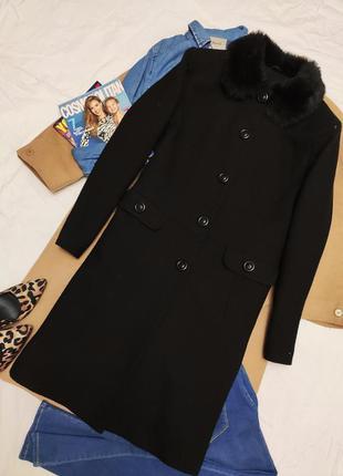 Дороти перкинс прямое классическое пальто с мехом шерстяное с ...