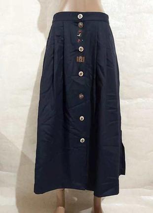 Новая шикарная юбка миди со 100% шерсти в тёмно синем цвете с ...