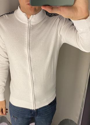 Хлопковый белый свитер на молнии кофта smog есть размеры