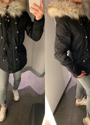 Плотная коттоновая чёрная парка куртка amisu есть размеры