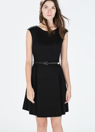 Zara хлопковое платье по фигуре с пышной юбкой!
