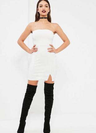 Коктейльное белое мини платье бюстье missguided ms918