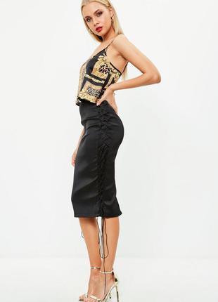 Стильная облегающая юбка миди со шнуровкой по бокам missguided...