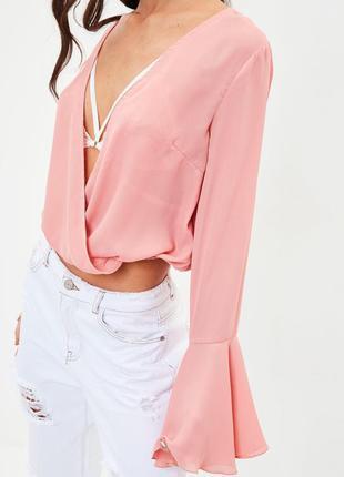Шифоновая блуза с рукавами воланами missguided ms132