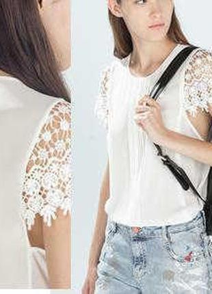 Шифоновая блуза с рукавами из кружева кроше zara