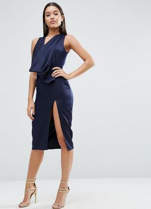 Платье миди со свободным воротом и вырезом сзади asos a1078