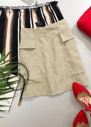Мягкая юбка с карманами prettylittlething