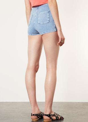 Стрейчевые джинсовые шорты высокой посадки topshop