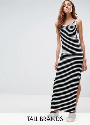 Трикотажное платье макси в полоску vero moda tall a1006