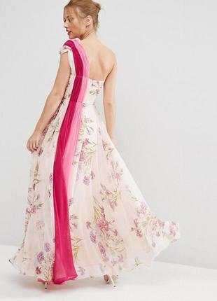 Платье макси премиум на одно плечо в стиле колор блок asos sal...