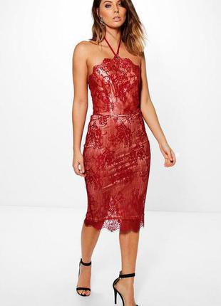 Роскошное платье миди с кружевом и завязками boohoo ms966