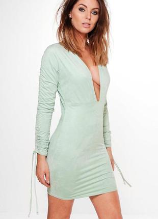 Стильное замшевое платье мятное по фигуре boohoo ms920