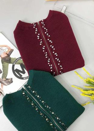 🔥 total sale 🔥красивейший свитер в рубчик с замком на спине и ...