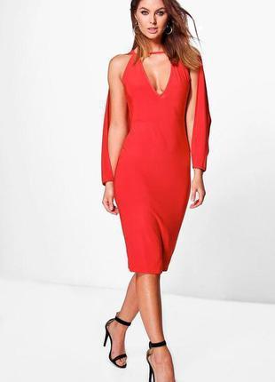 Потрясающее алое платье миди с вырезами на рукавах boohoo ms922