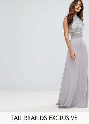 Вечернее платье в пол с кружевным топом club l a2131