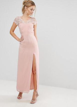 Эксклюзивное платье макси в пол с с кружевной отделкой elise r...