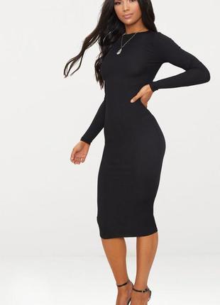 Z111 платье миди в рубчик черное atmosphere