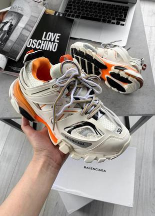 Balenciaga track trainer white orange шикарные женские кроссовки