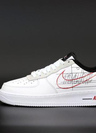 Nike air force кожаные женские кроссовки найк в белом цвете (в...