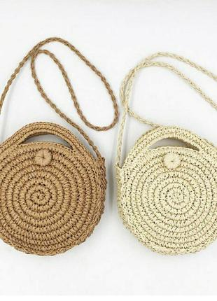 Сумка круглая плетеная соломка