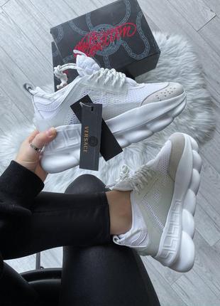 Versace chain reaction 2 white шикарные женские кроссовки