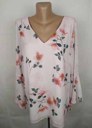Блуза новая модная цветочная шифоновая f&f uk 16/44/xl