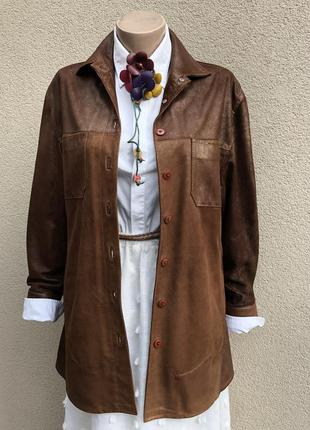 Винтаж,рубашка коричневая кожа с медно-золотистым напылением,э...