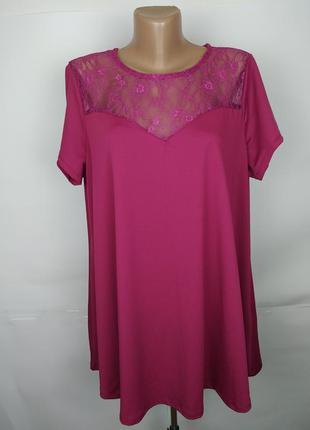 Блуза шикарная а-образная с кружевной кокеткой большого размер...