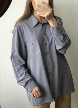 Рубашка синяя голубая оверсайз объемная удлиненная прямая широ...