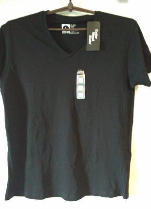 Черная футболка с v-вырезом primark, l размер
