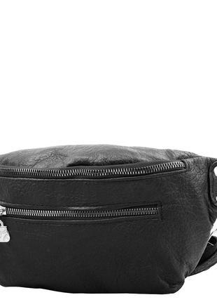 Женская кожаная сумка поясная tunona черная